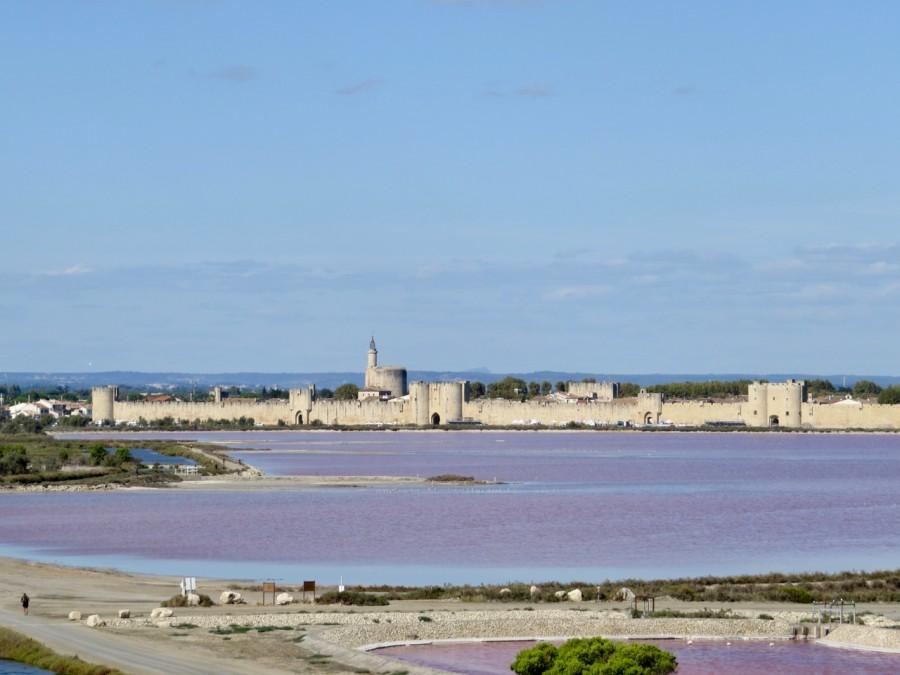 vue sur Aigre-Morte et ses fortifications, le rose de l'eau est du aux myriades de petites crevettes